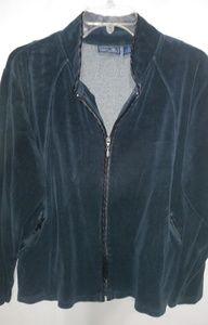 Jane Ashley Deep Blue Velour Jacket Sz L